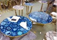 Luksusowe marmurowe blaty Blue Agate Stone Top Polished Finish Round Shape